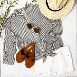 Black Striped Button Down Tunic